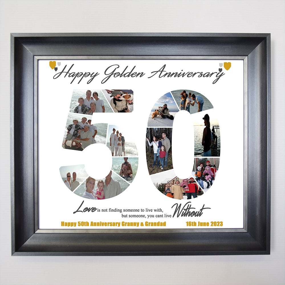 50th Golden Anniversary Sentiment Gift Frame