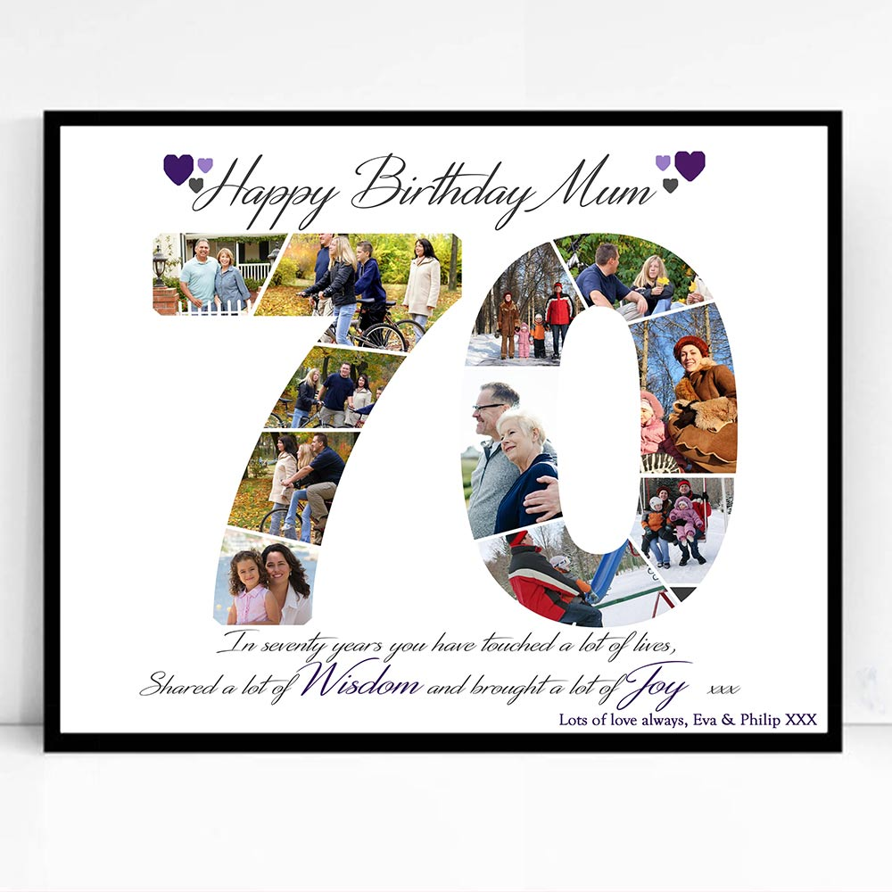 70th Birthday framed Photo Collage - Do More With Your Pictures