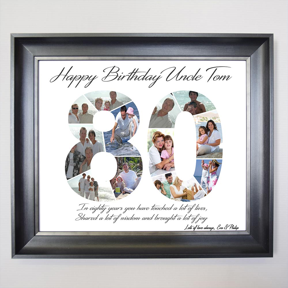 80th Birthday framed Photo Collage - Do More With Your Pictures
