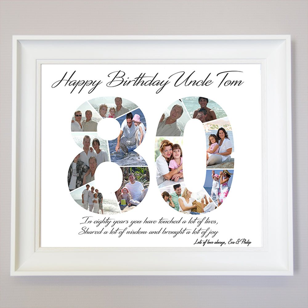 80th Birthday framed Photo Collage