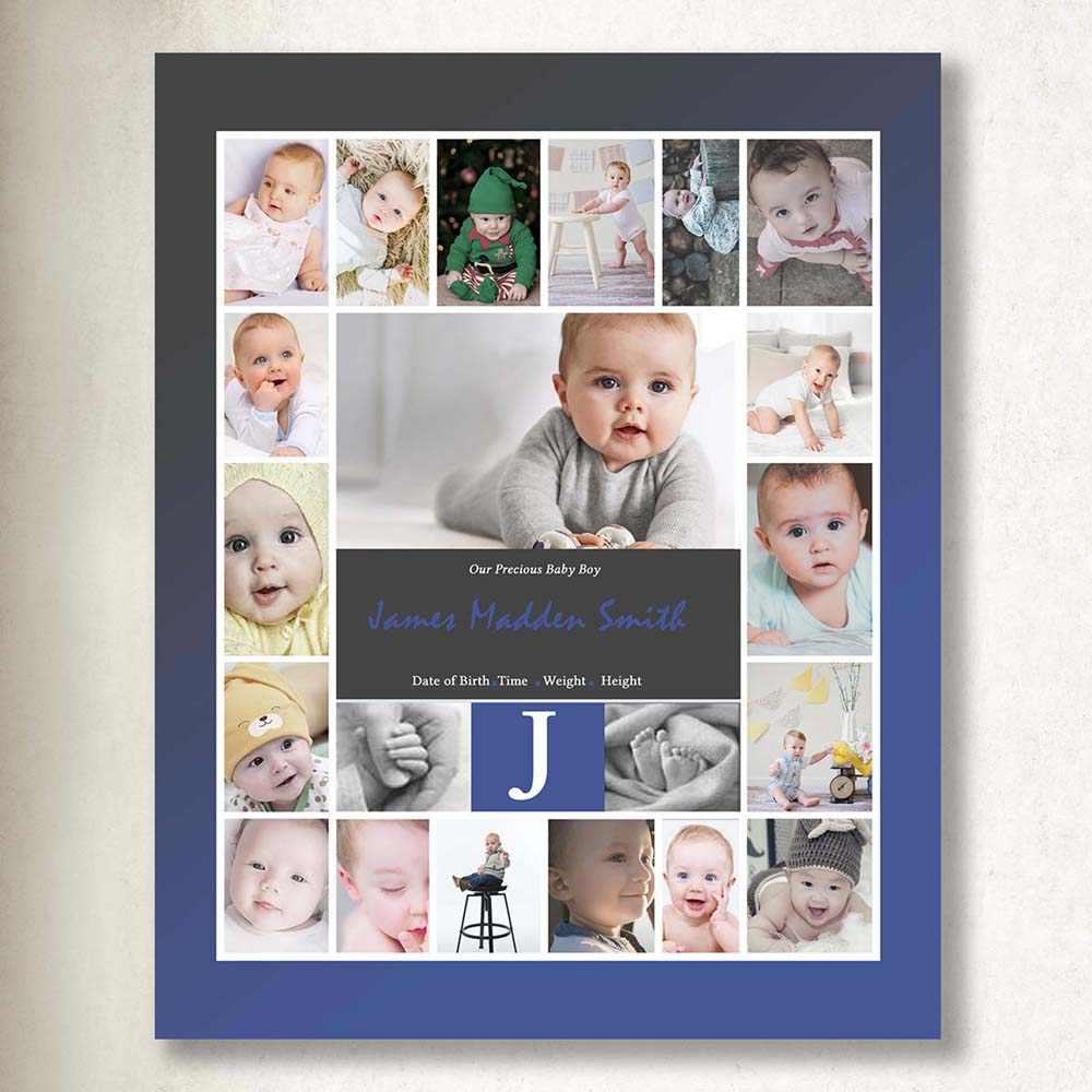 My Initial Baby Framed Photo Collage On Canvas