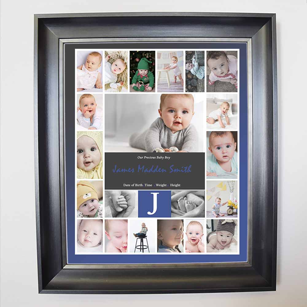 Lavender My Initial Baby Framed Photo Collage