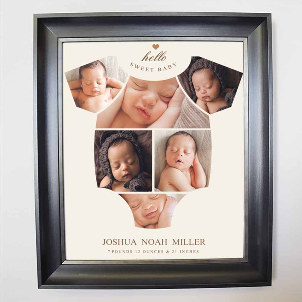 Hello Sweet Onesie Framed Photo Collage - Do More With Your Pictures