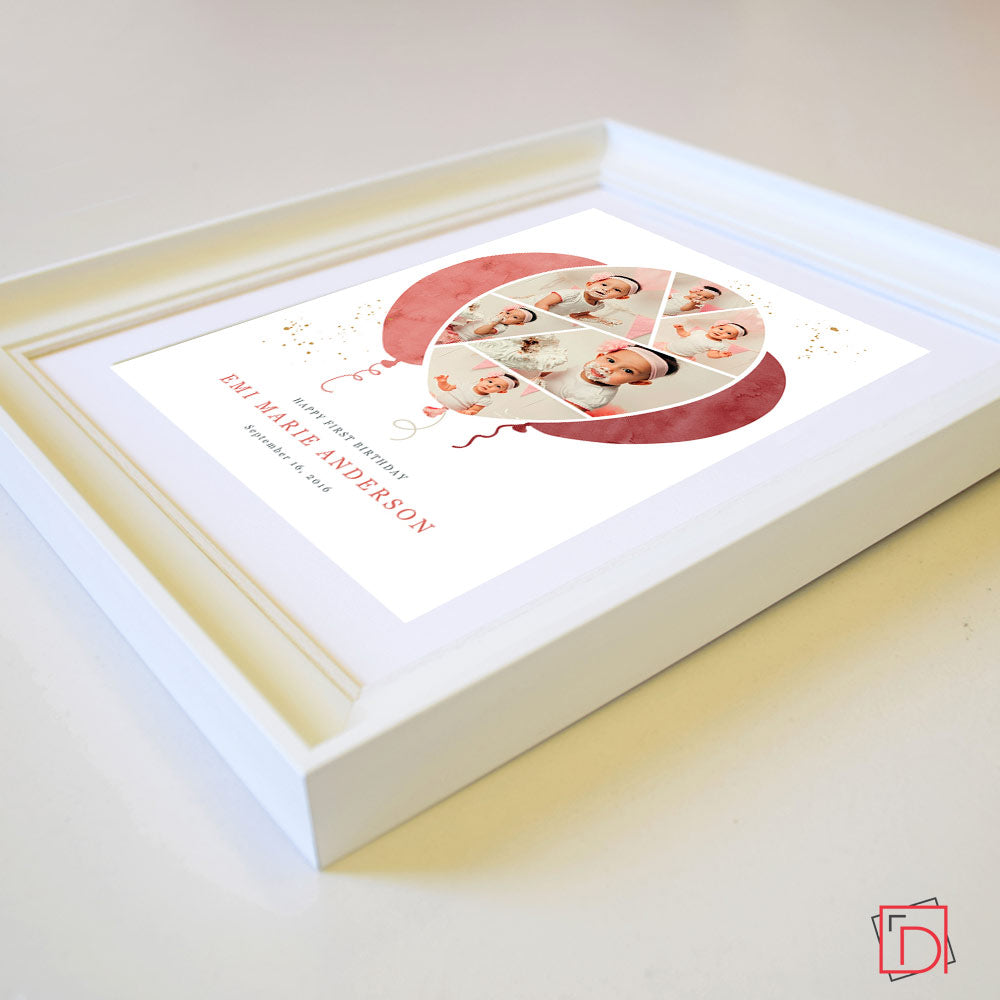 Personalised  sweet baby's Birthday Cake Smash 6 Photos frame, Side View, domore.ie