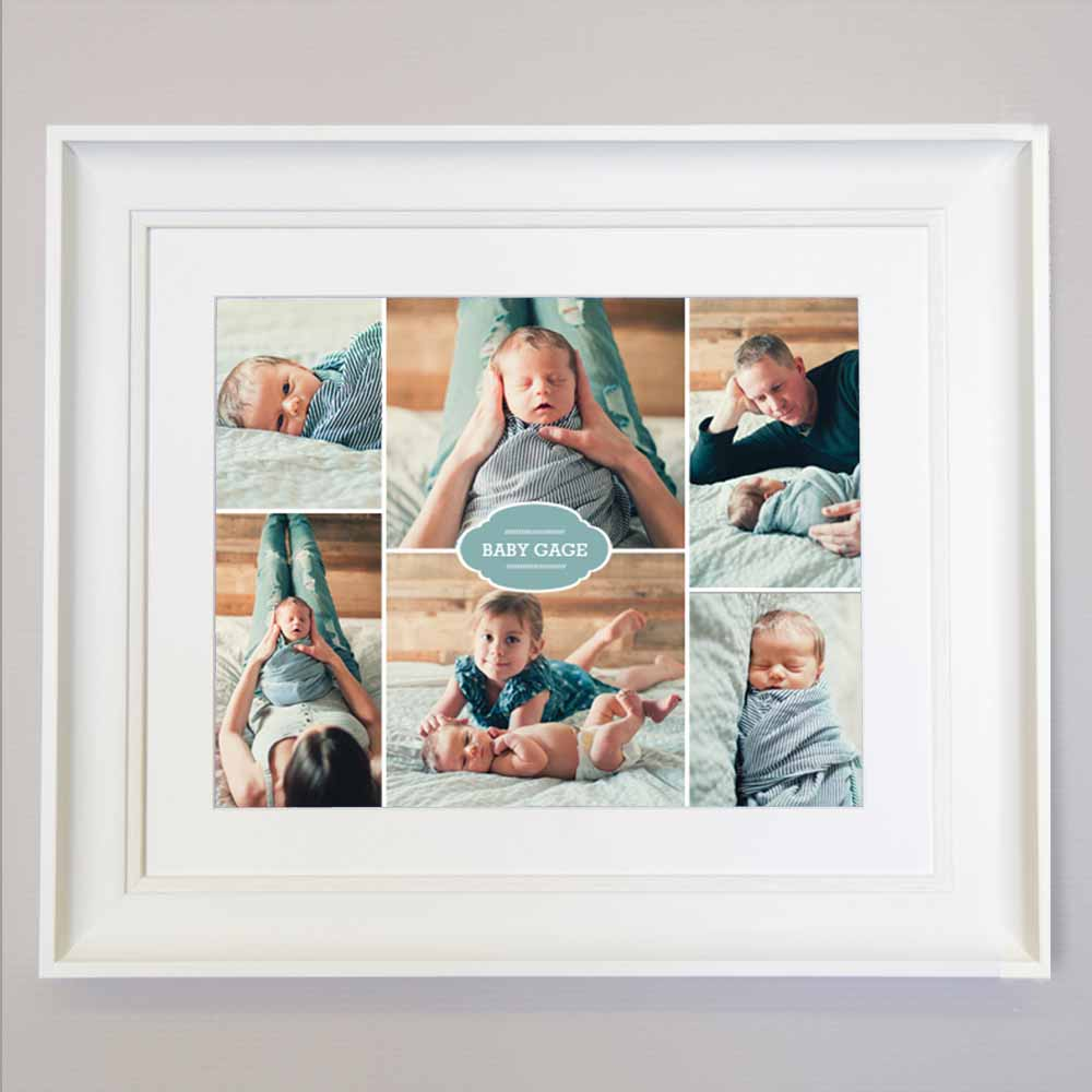 Front View of 6 photos gift Frame , New baby present , wall art, white frame, domore.ie