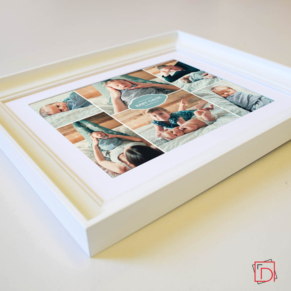 Side View of 6 photos gift Frame , New baby present , wall art, white frame, domore.ie