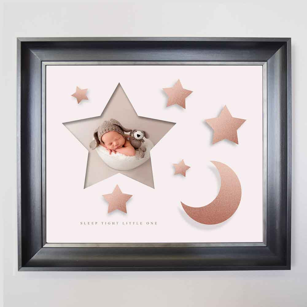 Lavender Blush Stars & Moon Framed Photo Collage