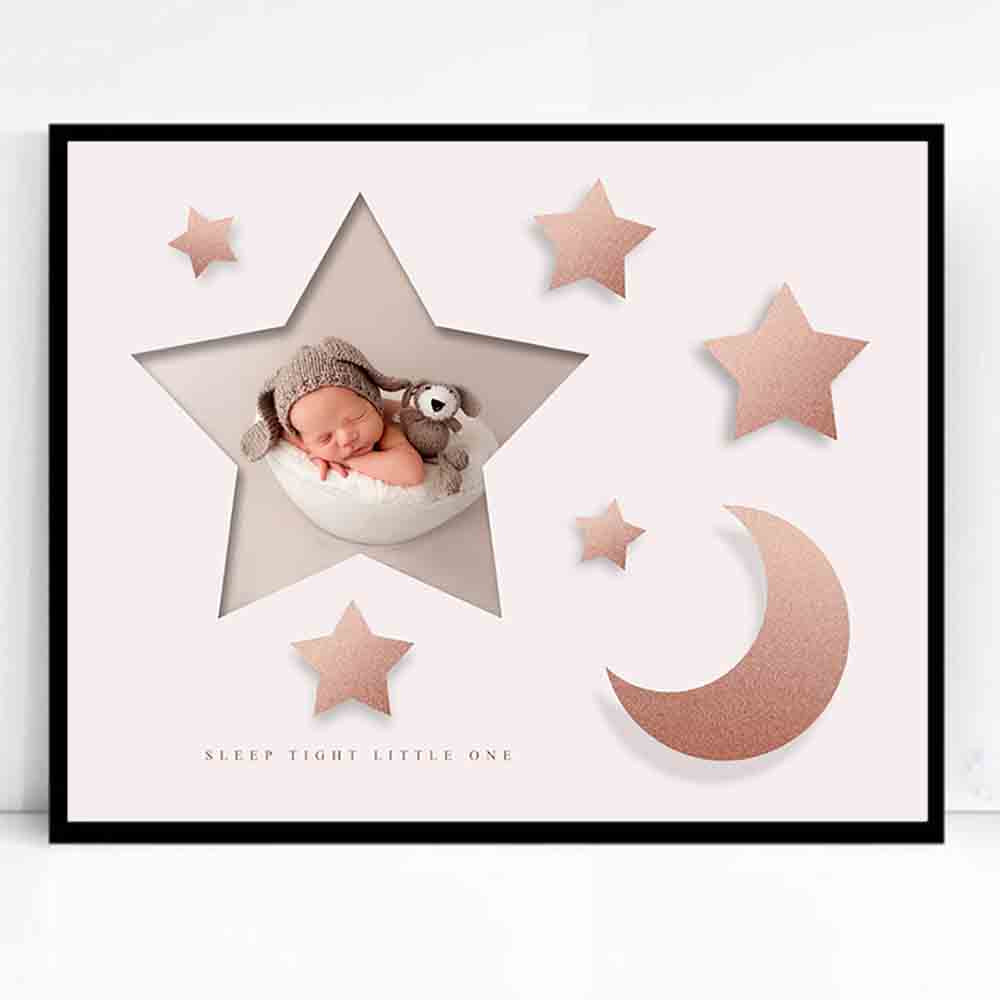 Gray Stars & Moon Framed Photo Collage