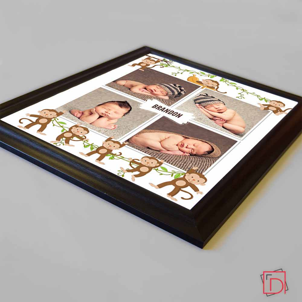 Tan Our Little Monkey Framed Photo Collage