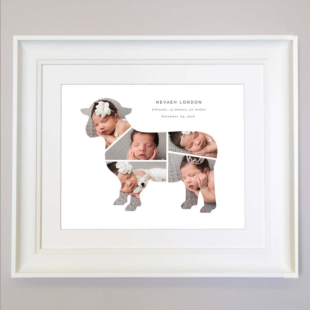 Sheep  Design Kids 5 photos Frame , Personalised new baby picture frame , wall art, white frame front view, domore.ie