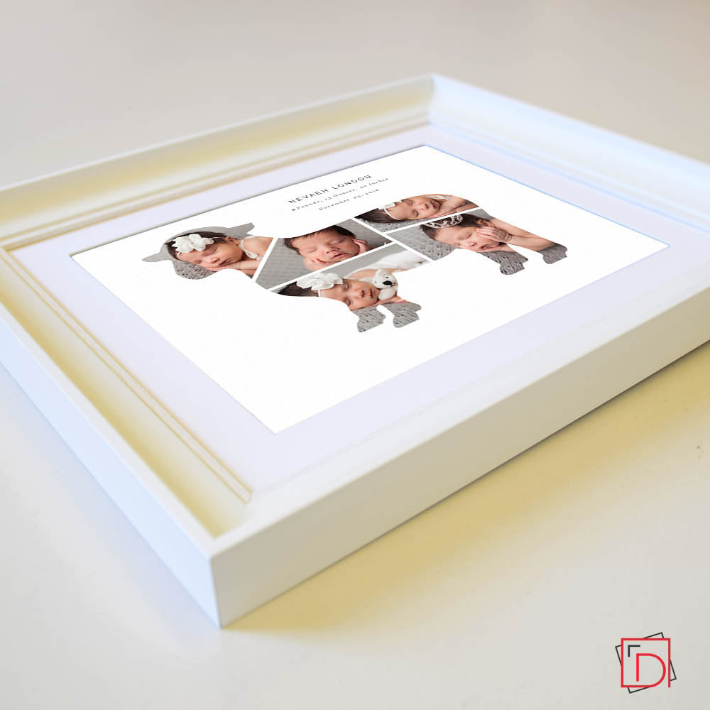 Sheep  Design Kids 5 photos Frame , Personalised new baby picture frame , wall art, white frame Side view, domore.ie