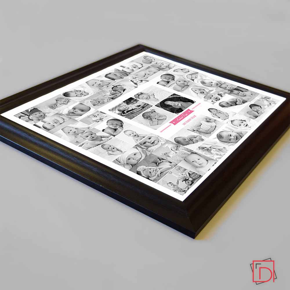 Black & White Announcement Framed Photo Collage - Do More With Your Pictures