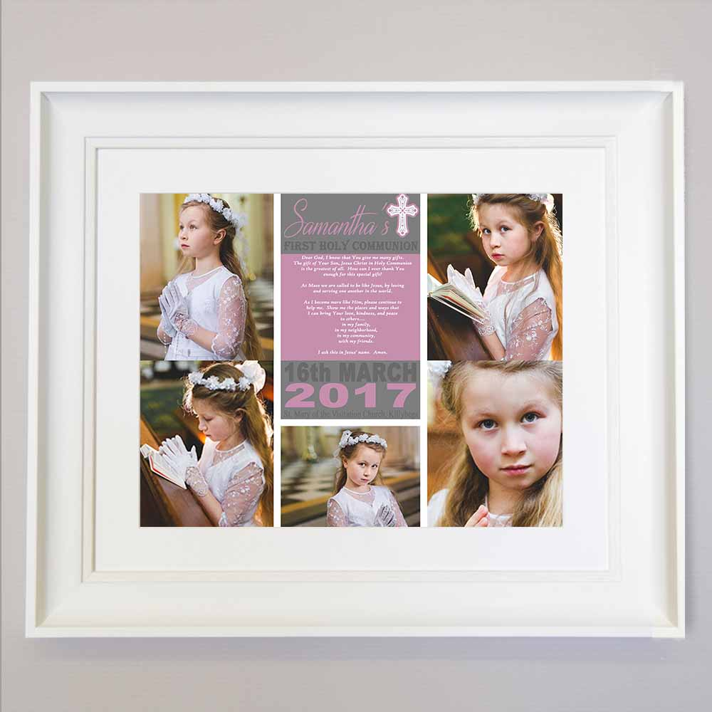 White Smoke Little Prayer First Communion Photo Collage Wall Art