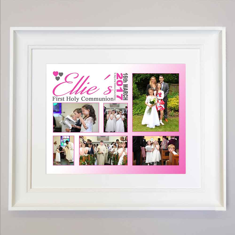 Cloudy First Communion Photo Collage Wall Art