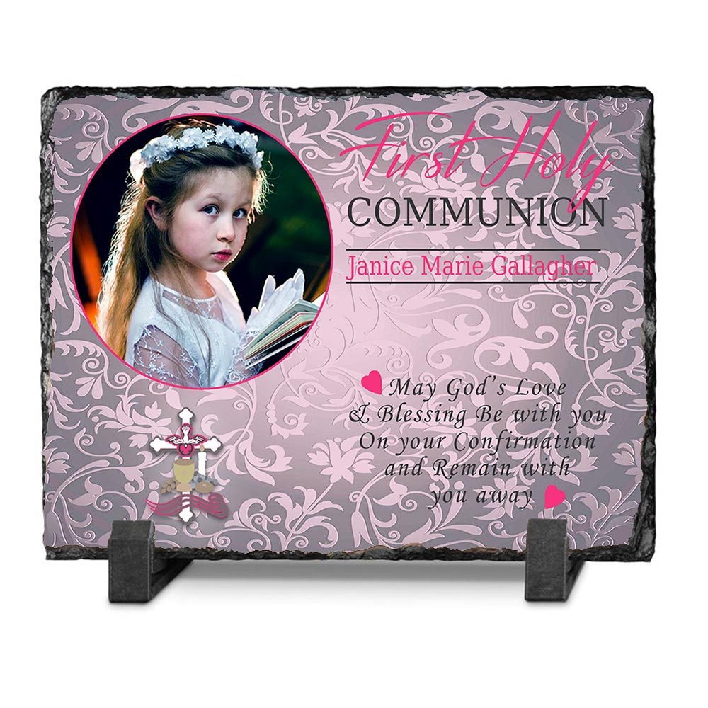 First Holy Communion Floral Photo Slate