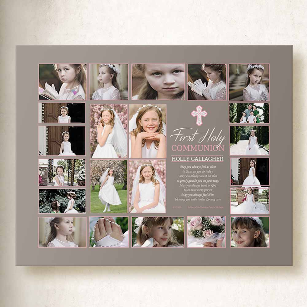 My Holy Communion Photo Collage On Canvas