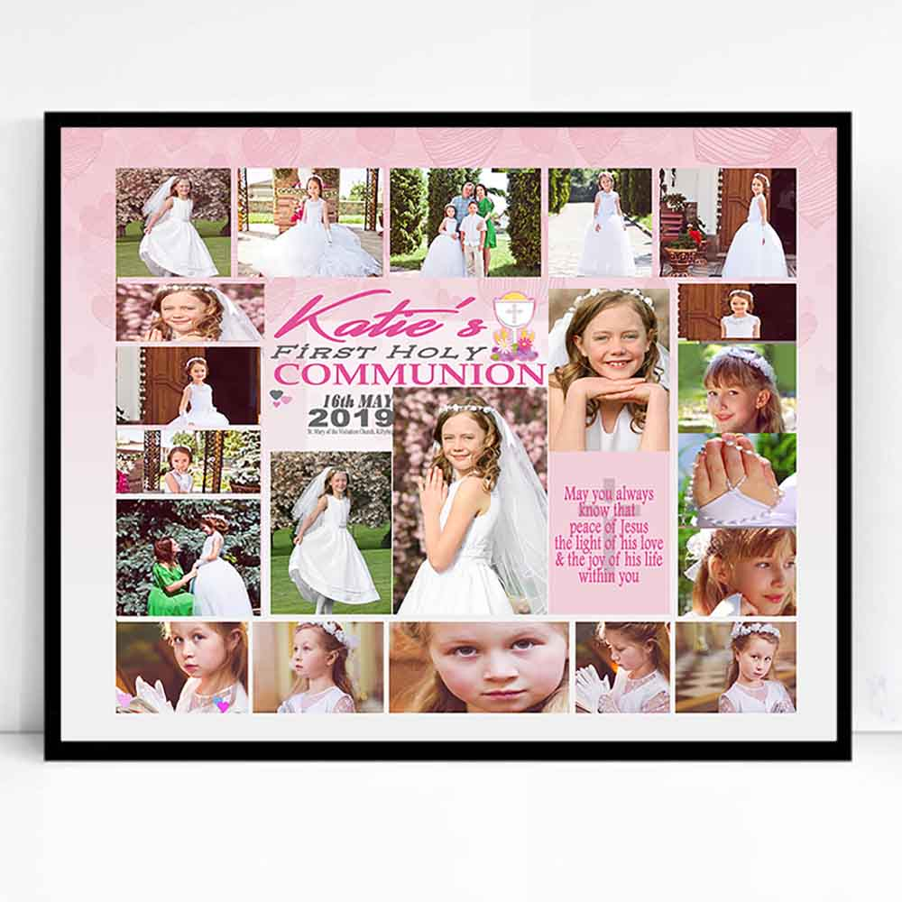 White Smoke Light Of Love First Holy Communion Framed Photo Collage