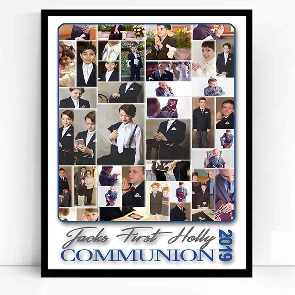 White Smoke My First Holy Communion Sentiment Framed Photo Collage