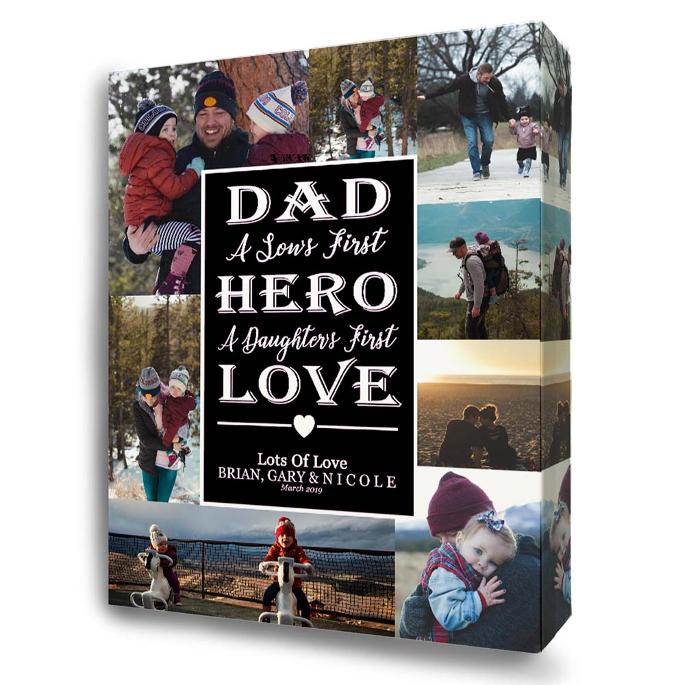 Dad Our Hero Collage On Canvas