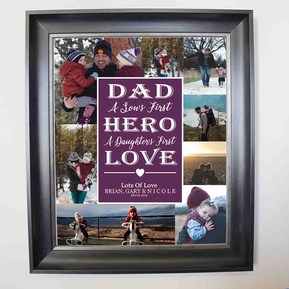 Dad is the First Hero & Love Is Dad Photo Collage Wall Art