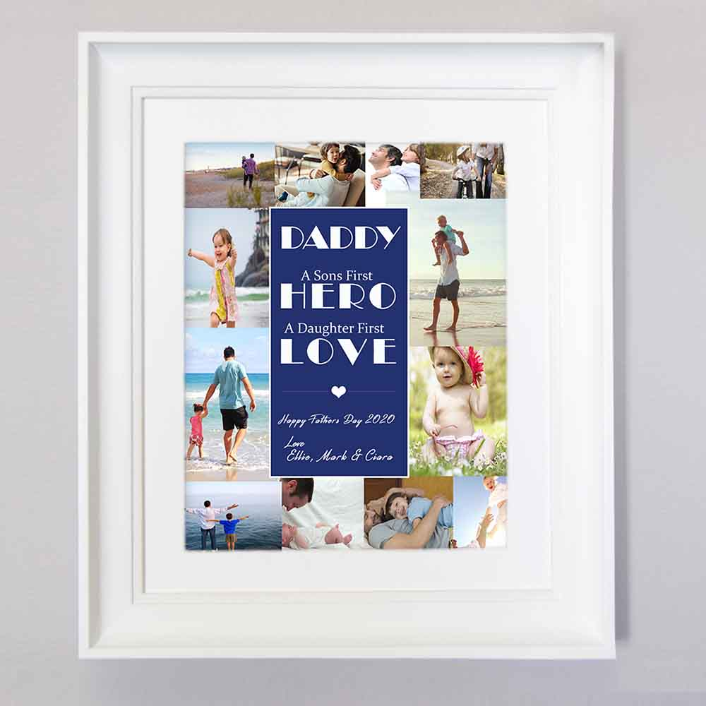 Hero & Love Is Dad Photo Collage Wall Art