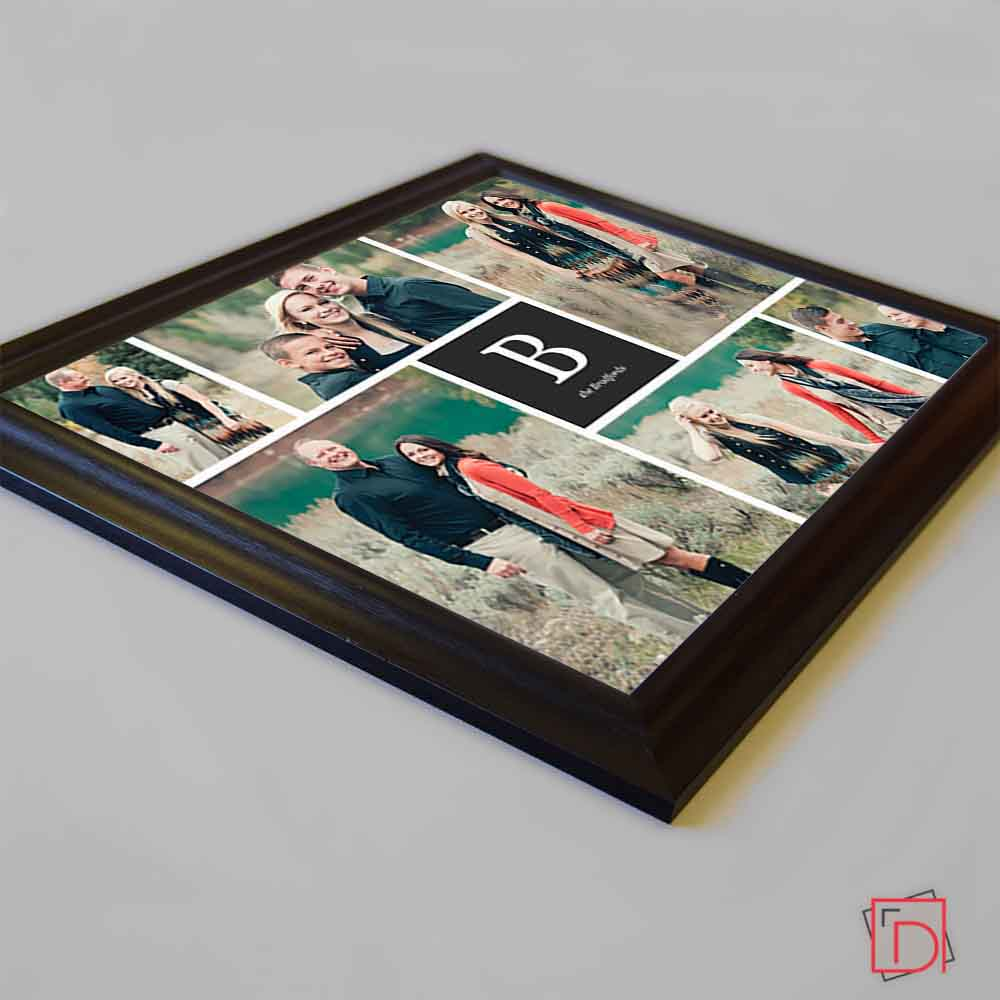 Black My Initial Framed Photo Collage