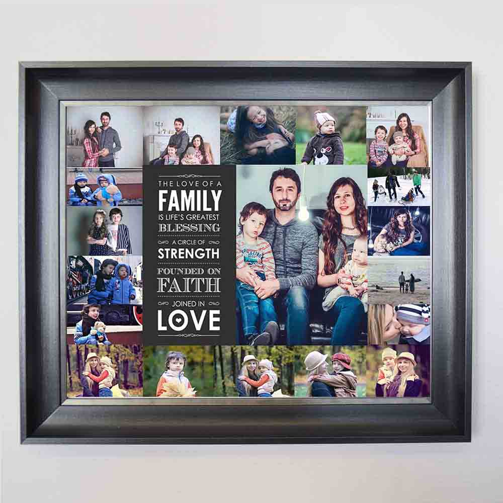 Family is Blessing & Strength Photo Collage Wall Art