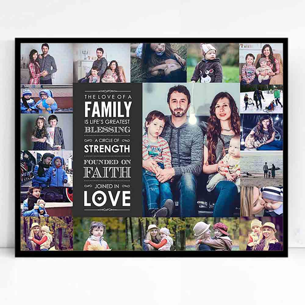 Family Blessing Framed Photo Collage