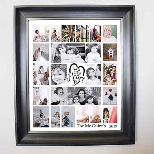 Home Is Where The Heart IS Framed Photo Collage - Do More With Your Pictures