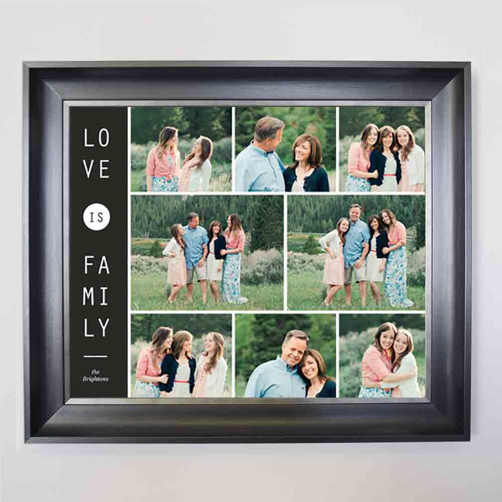 Dark Sea Green Love is Family Framed Photo Collage