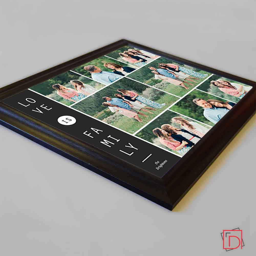 Dark Slate Gray Love is Family Framed Photo Collage