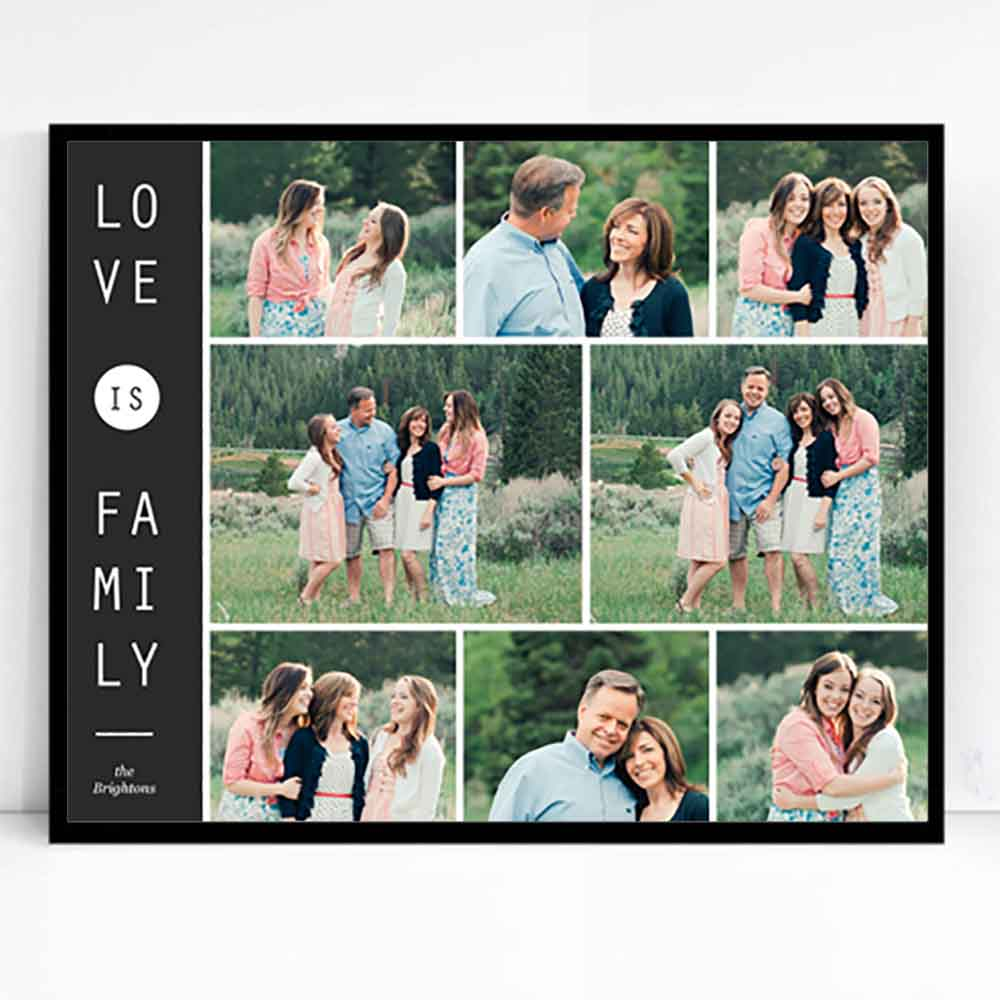White Smoke Love is Family Framed Photo Collage