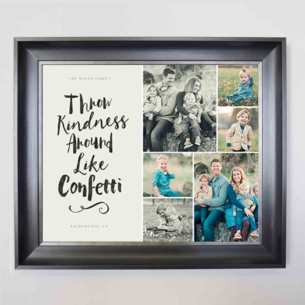 Gray Throw Like Confetti Framed Photo Collage
