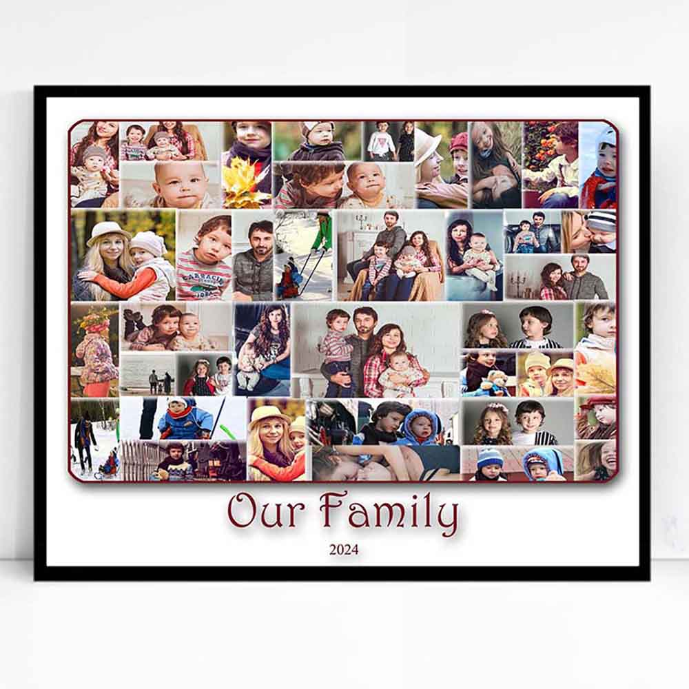 White Smoke Our Family Cloud Framed Photo Collage