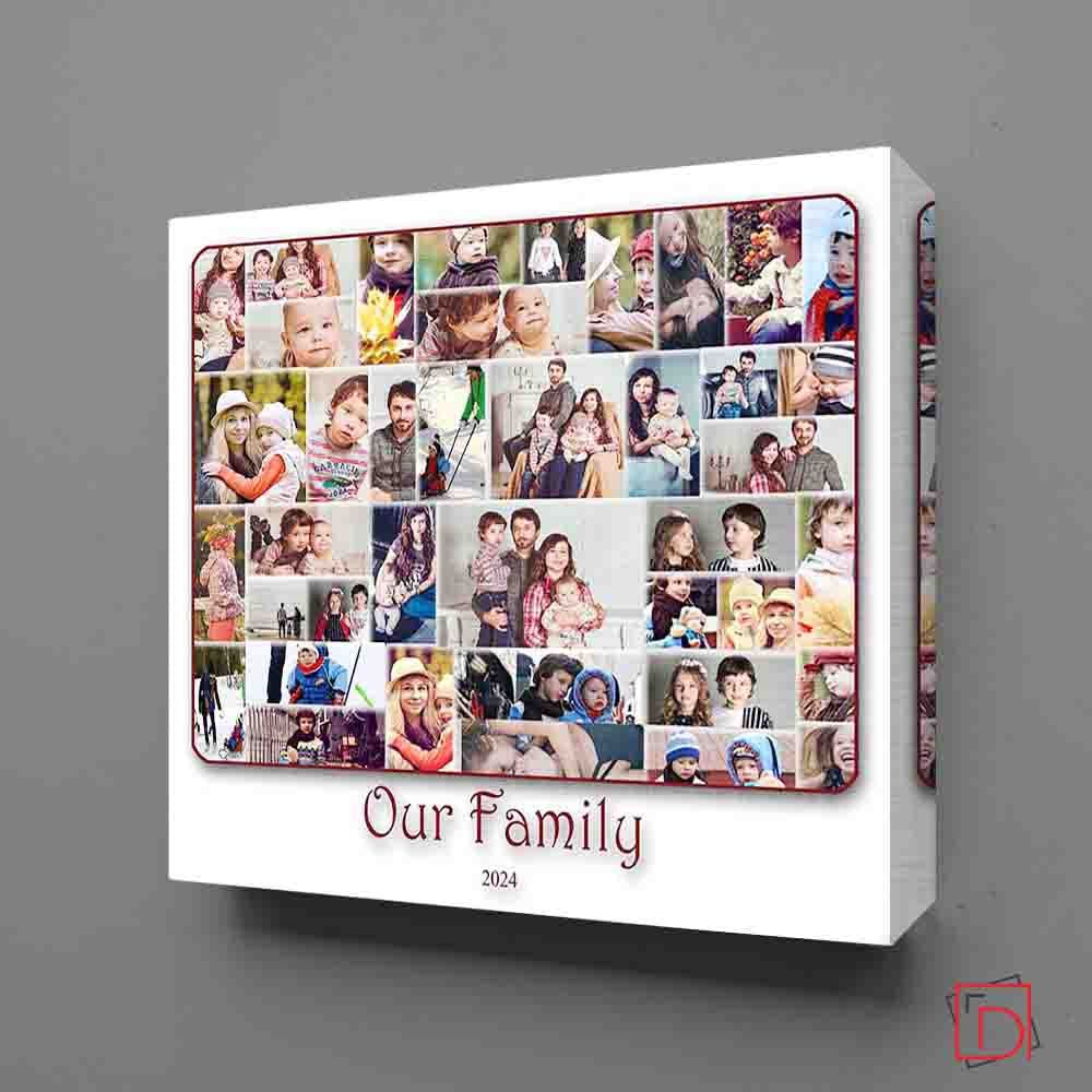 Beige Our Family Cloud Framed Photo Collage