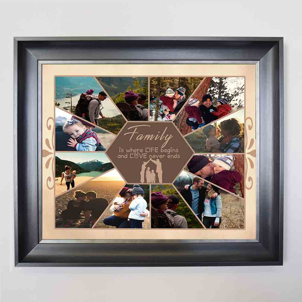 Family Love Never Ends Framed Wall Art