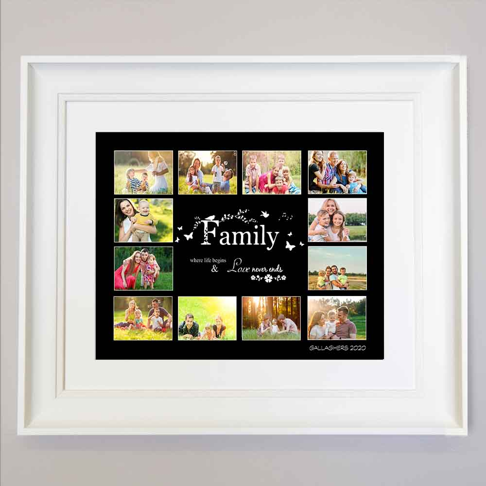 Family Where love begins Photo Collage