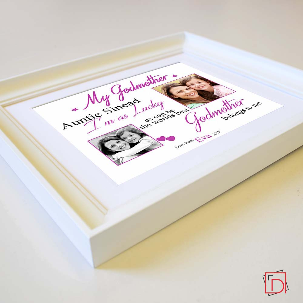 Worlds Best God Mother Sentiment Gift Frame