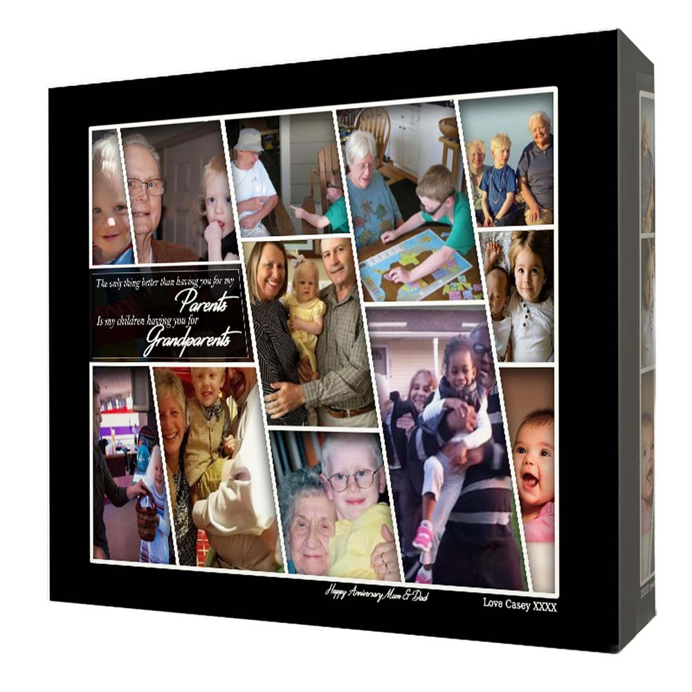 Gray Personalised Grandparents Picture Framed Photo Collage
