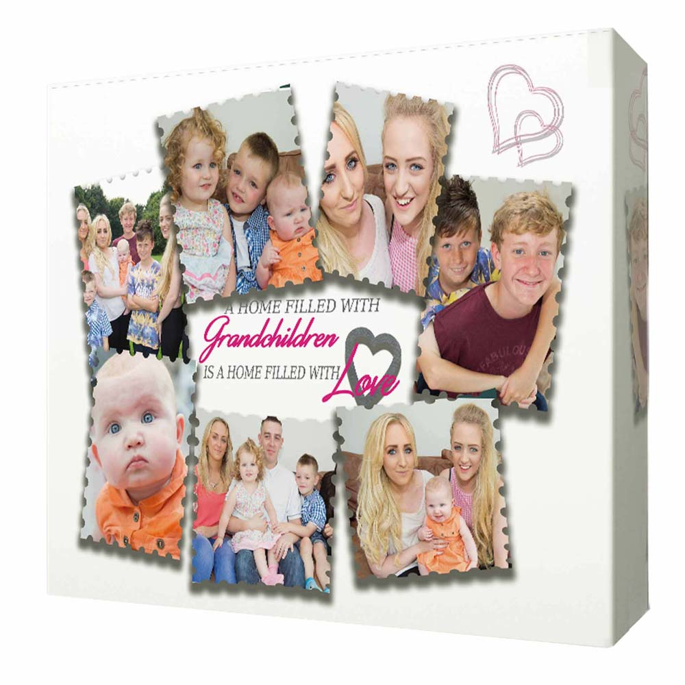 White Smoke Love with Grandchildren Framed Photo Collage