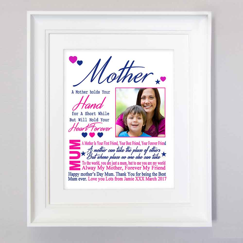 White Smoke Mother Holds Your Hand Sentiment Gift Frame