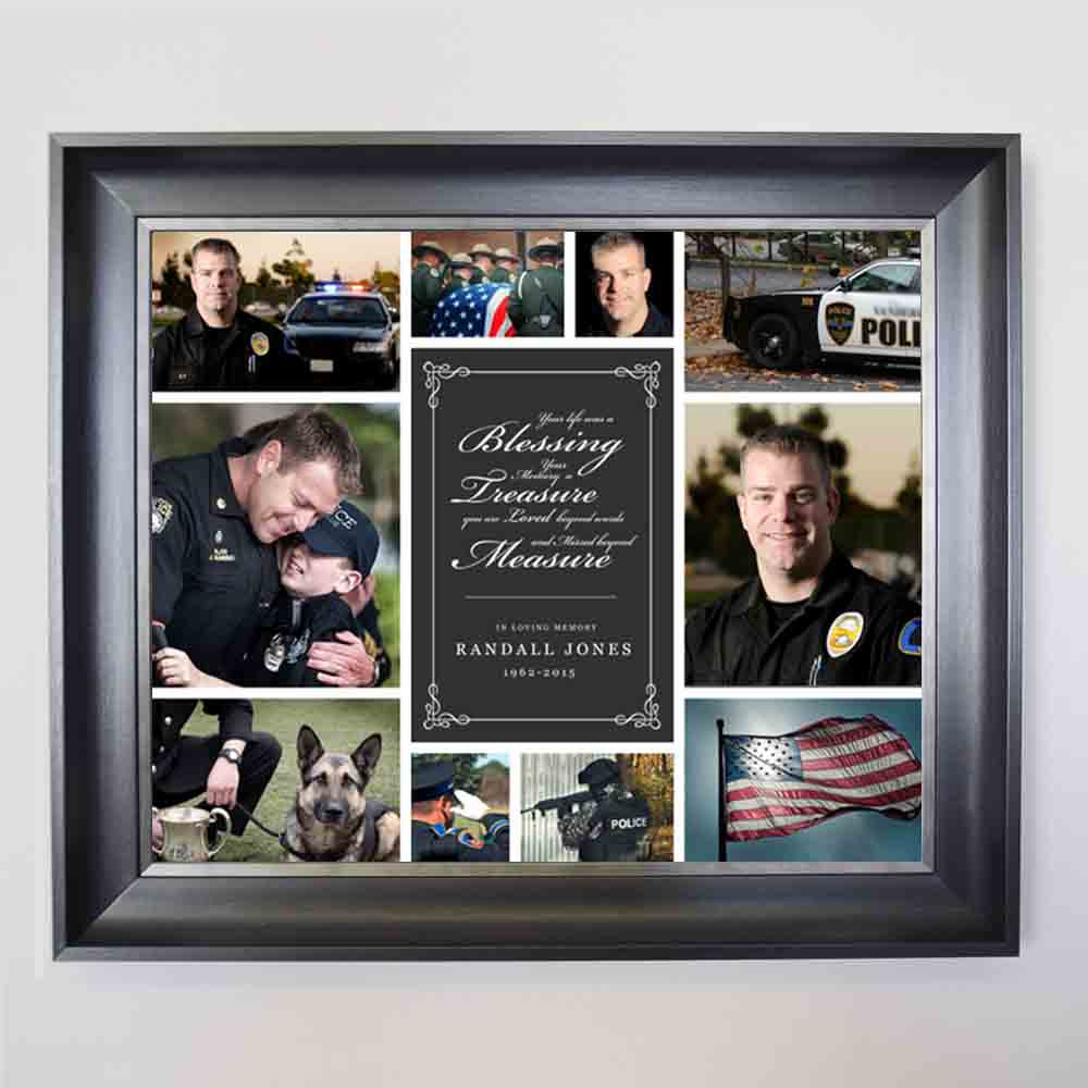 Dark Slate Gray Memorial Blessing Framed Picture Collage