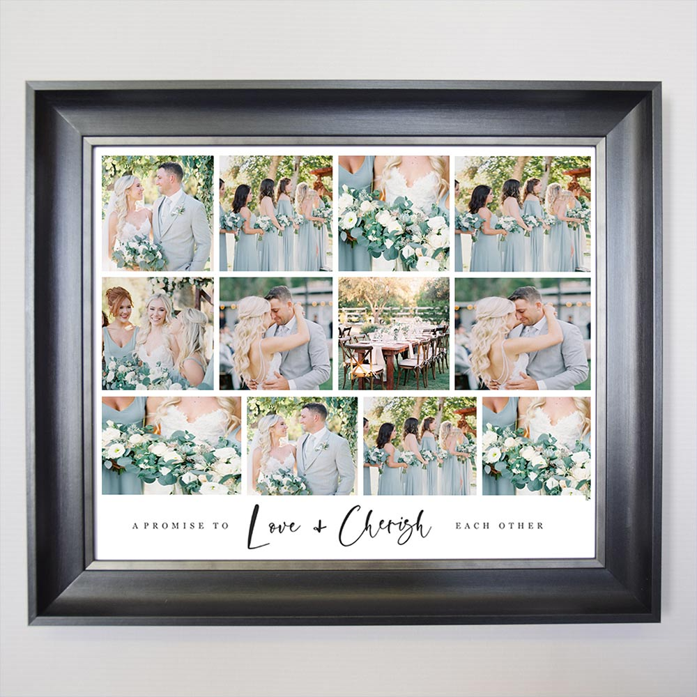 A Promise To Love And Cherish Wedding Collage Framed