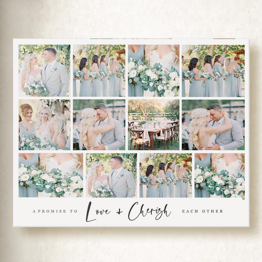 A Promise To Love And Cherish Wedding Collage On Canvas