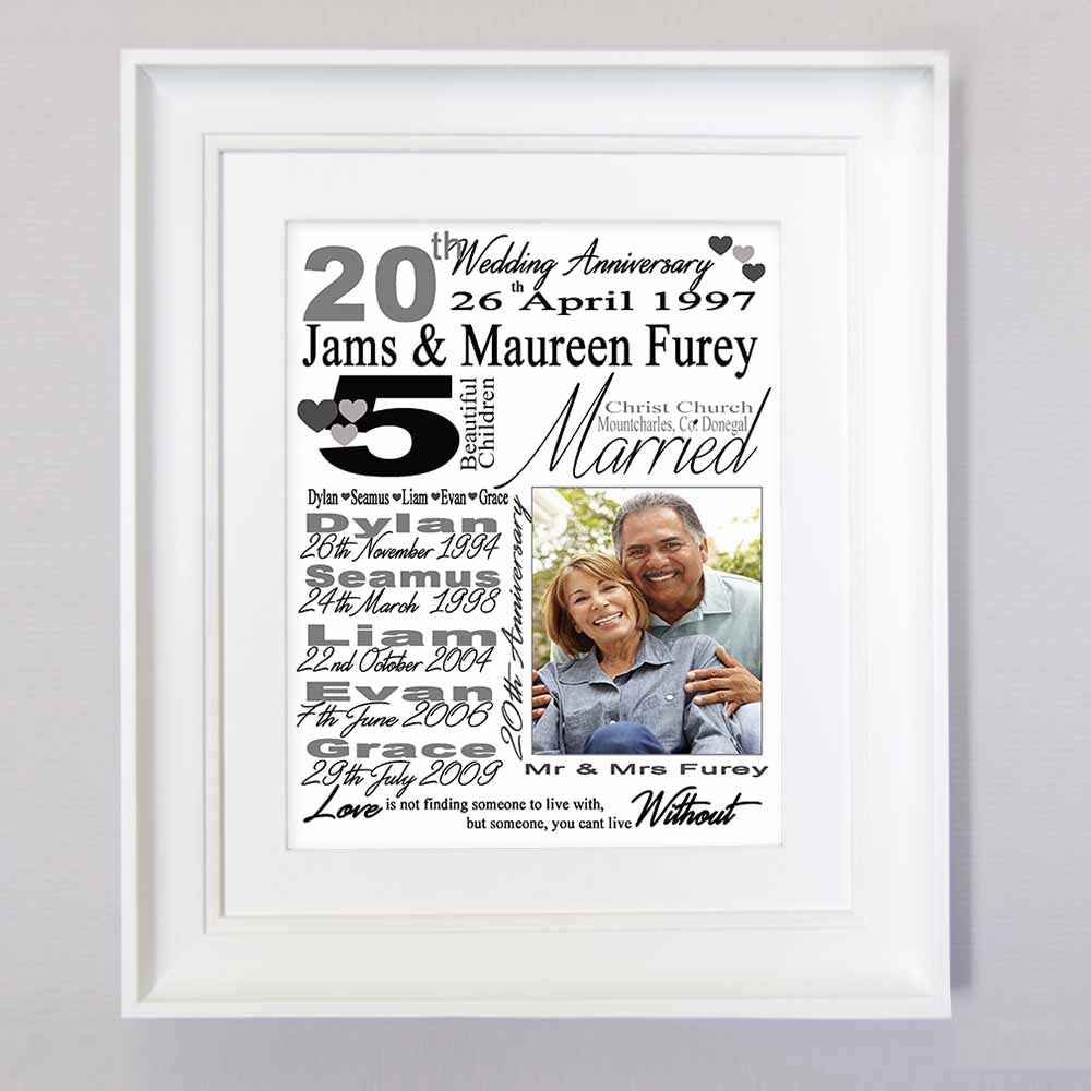 Personalised  Anniversary gift frame with Personal Information, 1 Photo, Front View, domore.ie