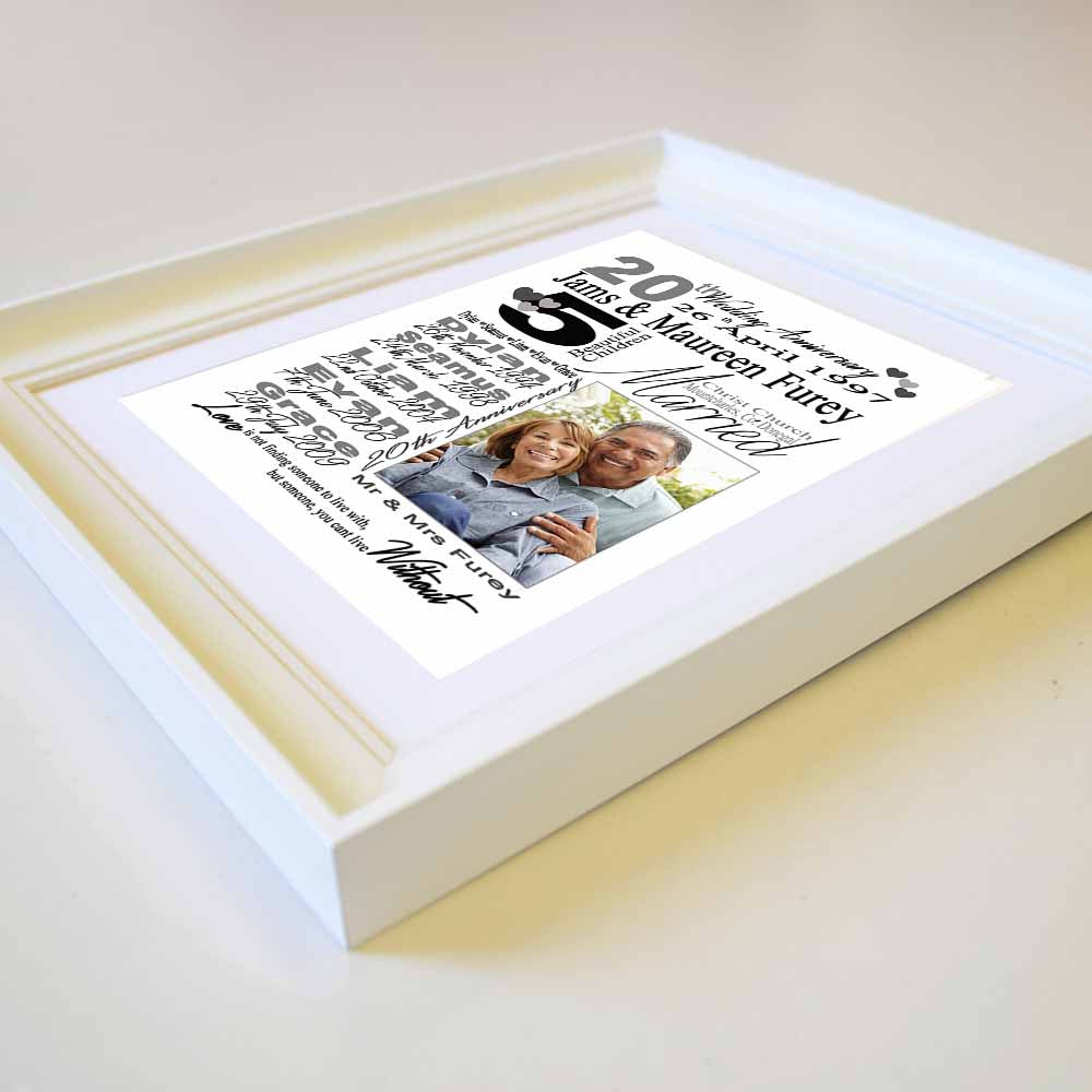 Personalised  Anniversary gift frame with Personal Information, 1 Photo, Side View, domore.ie