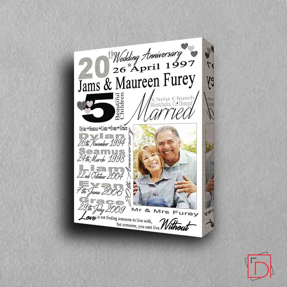 Personalised  Anniversary gift frame with Personal Information, 1 Photo, 3D View, domore.ie