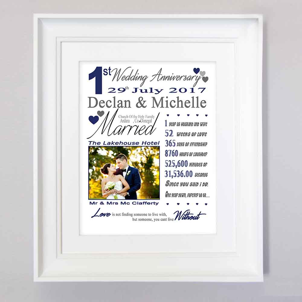 First Wedding Anniversary Sentiment Frame