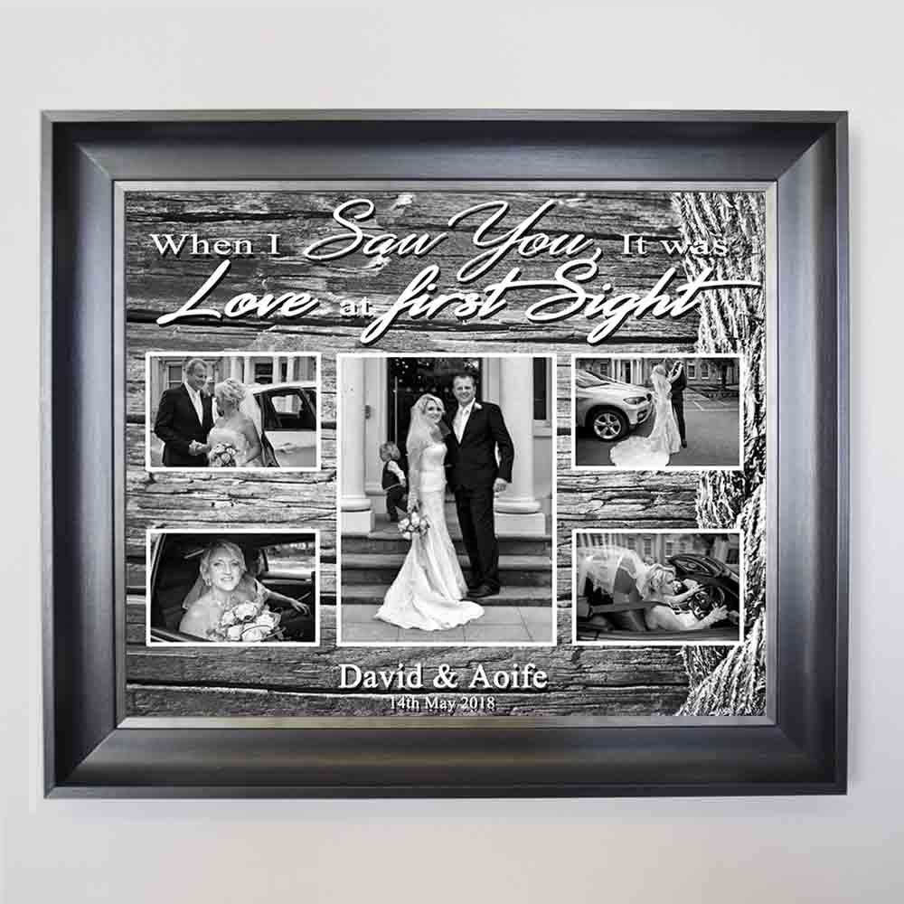 Slate Gray Our Love Story Framed Photo Collage