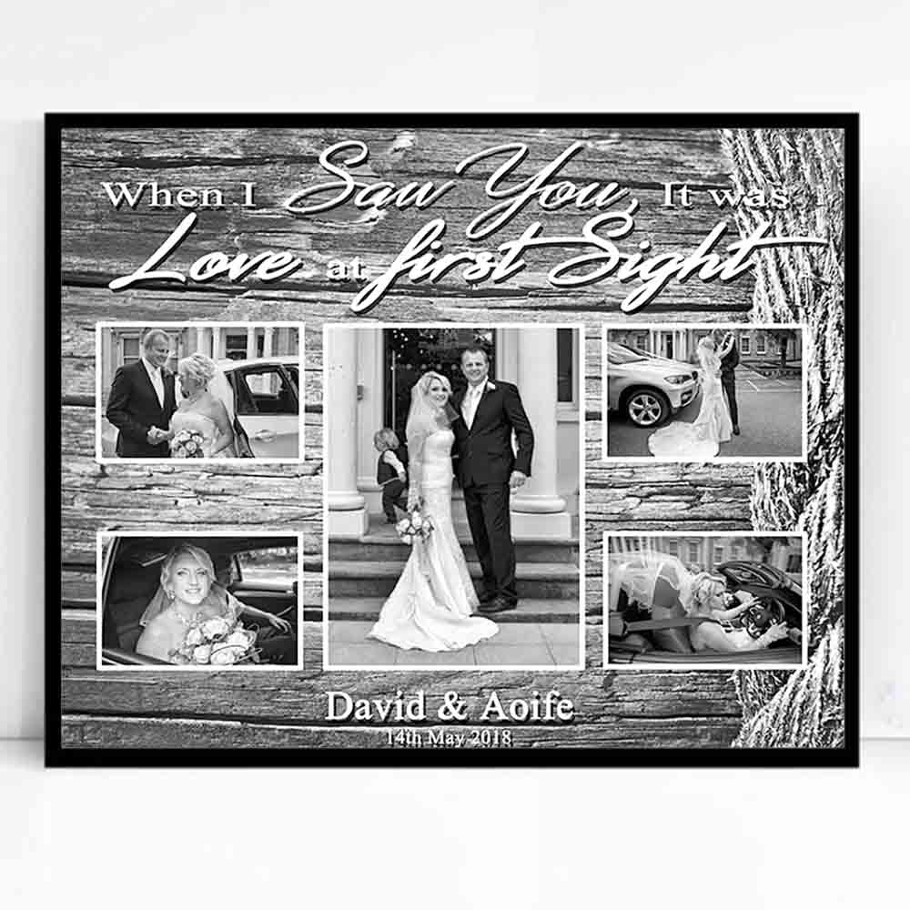 Gray Our Love Story Framed Photo Collage